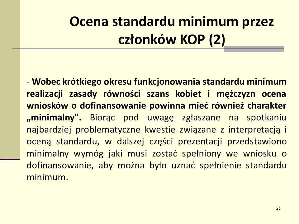 25 Ocena standardu minimum przez członków KOP (2) - Wobec krótkiego okresu funkcjonowania standardu minimum realizacji zasady równości szans kobiet i mężczyzn ocena wniosków o dofinansowanie powinna mieć również charakter minimalny .