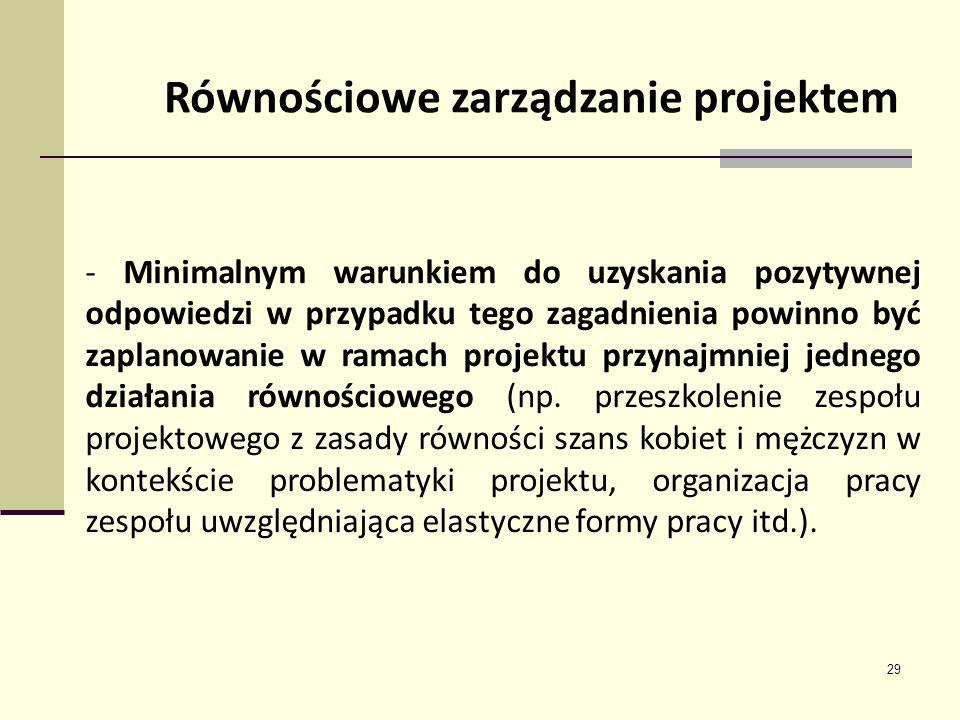 29 Równościowe zarządzanie projektem - Minimalnym warunkiem do uzyskania pozytywnej odpowiedzi w przypadku tego zagadnienia powinno być zaplanowanie w