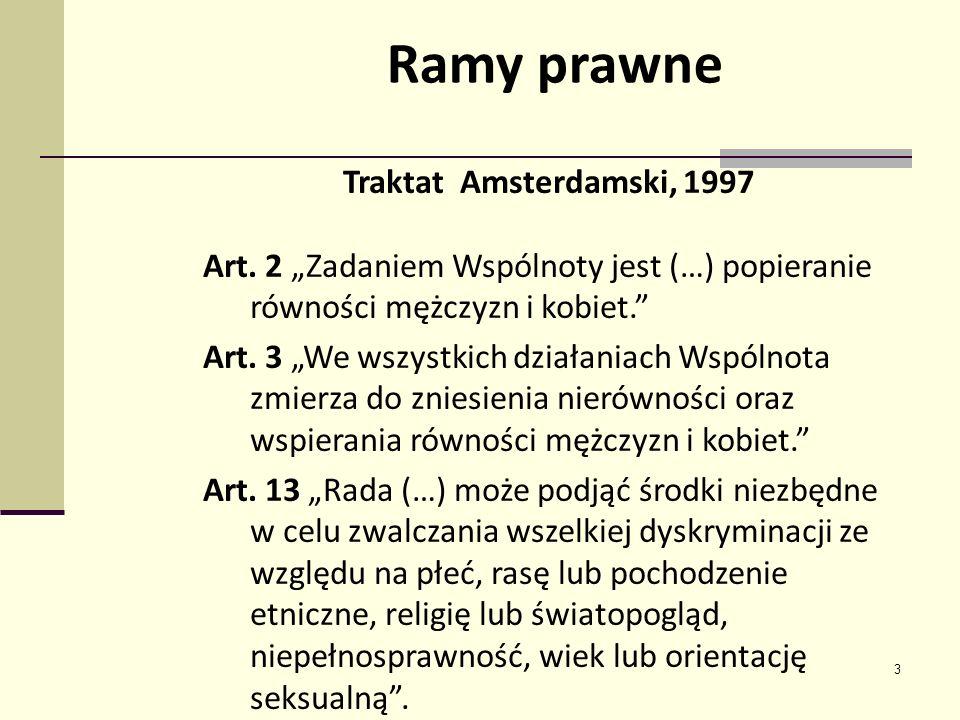 3 Traktat Amsterdamski, 1997 Art. 2 Zadaniem Wspólnoty jest (…) popieranie równości mężczyzn i kobiet. Art. 3 We wszystkich działaniach Wspólnota zmie