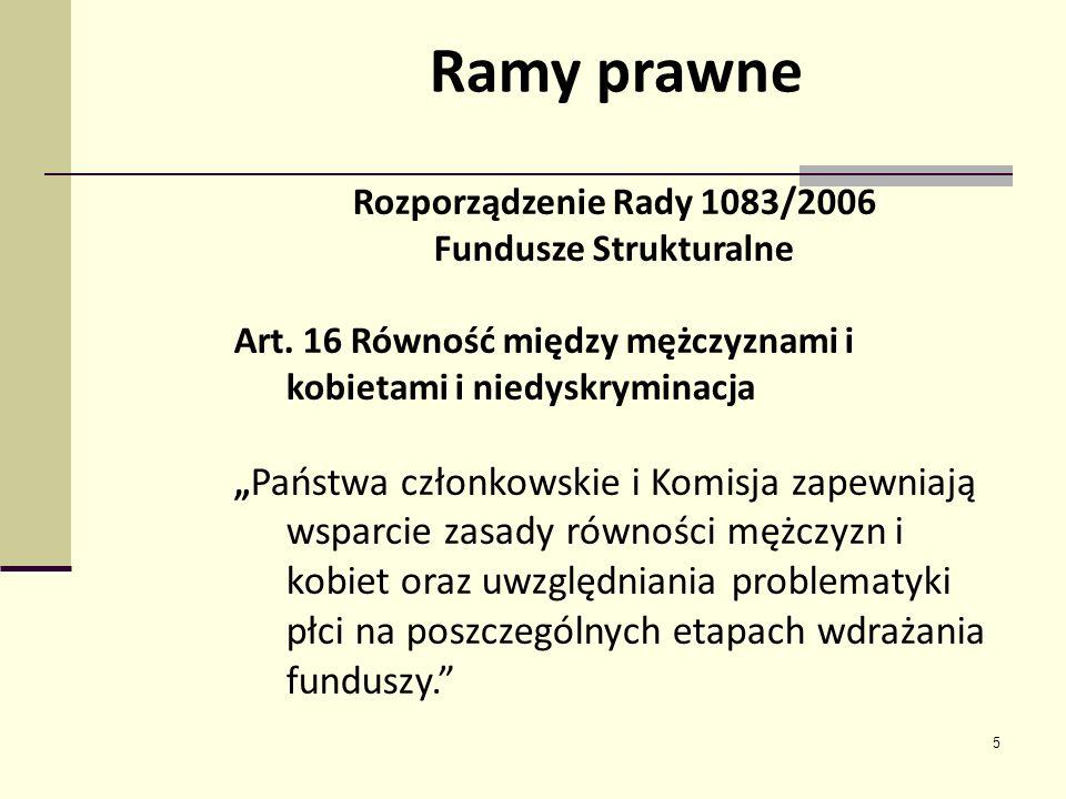 5 Rozporządzenie Rady 1083/2006 Fundusze Strukturalne Art. 16 Równość między mężczyznami i kobietami i niedyskryminacja Państwa członkowskie i Komisja