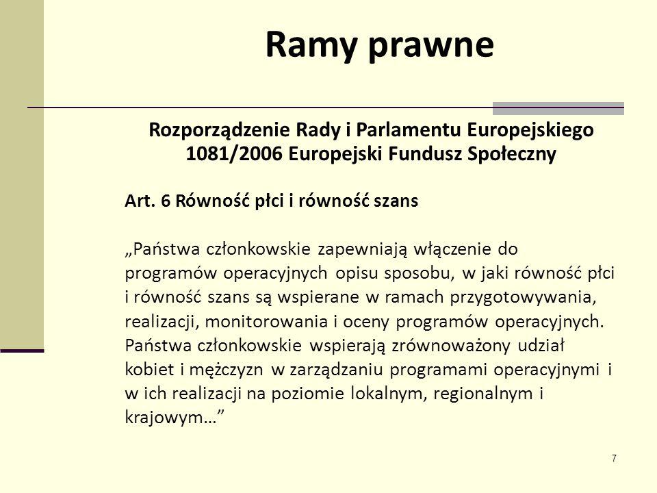 7 Rozporządzenie Rady i Parlamentu Europejskiego 1081/2006 Europejski Fundusz Społeczny Art. 6 Równość płci i równość szans Państwa członkowskie zapew