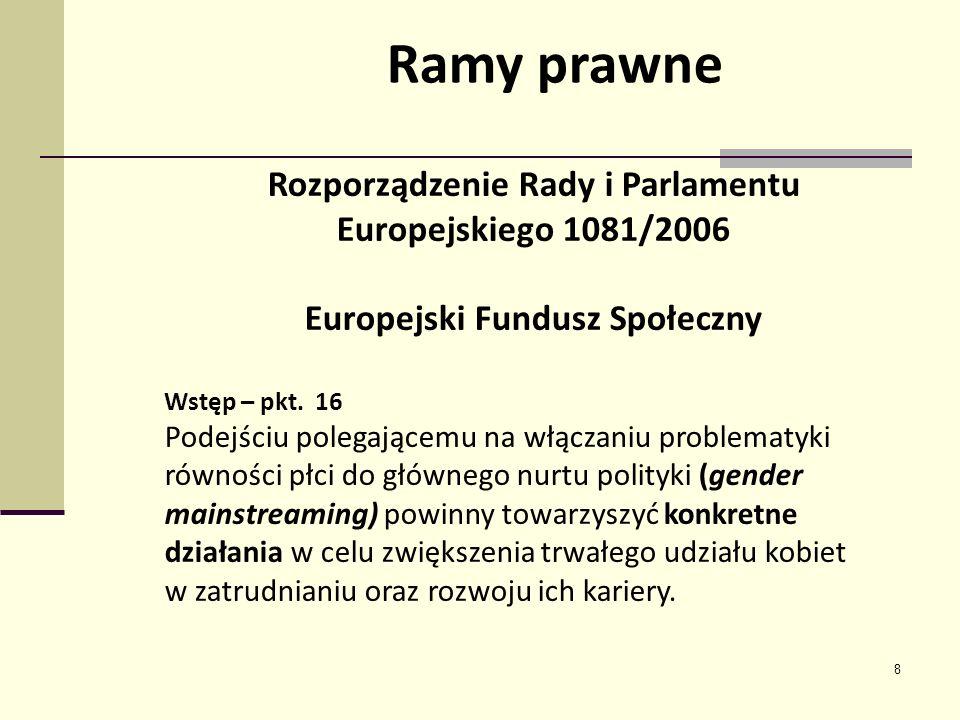 8 Rozporządzenie Rady i Parlamentu Europejskiego 1081/2006 Europejski Fundusz Społeczny Wstęp – pkt. 16 Podejściu polegającemu na włączaniu problematy