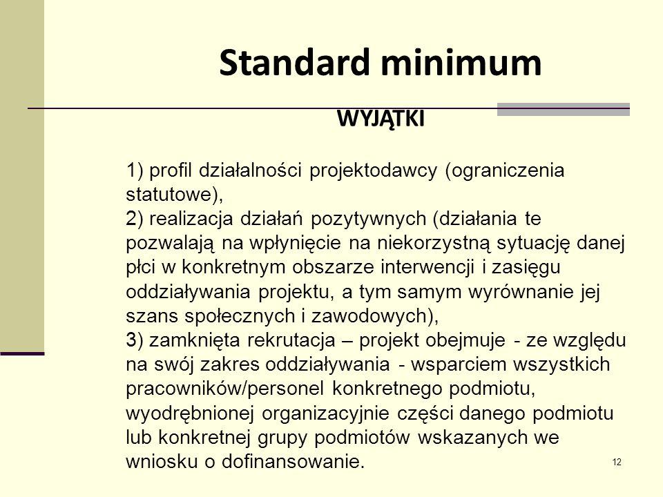 12 Standard minimum WYJĄTKI 1) profil działalności projektodawcy (ograniczenia statutowe), 2) realizacja działań pozytywnych (działania te pozwalają na wpłynięcie na niekorzystną sytuację danej płci w konkretnym obszarze interwencji i zasięgu oddziaływania projektu, a tym samym wyrównanie jej szans społecznych i zawodowych), 3) zamknięta rekrutacja – projekt obejmuje - ze względu na swój zakres oddziaływania - wsparciem wszystkich pracowników/personel konkretnego podmiotu, wyodrębnionej organizacyjnie części danego podmiotu lub konkretnej grupy podmiotów wskazanych we wniosku o dofinansowanie.