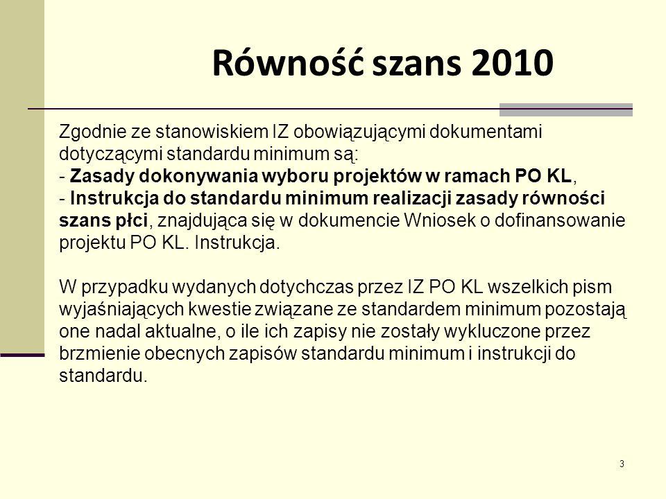 3 Zgodnie ze stanowiskiem IZ obowiązującymi dokumentami dotyczącymi standardu minimum są: - Zasady dokonywania wyboru projektów w ramach PO KL, - Instrukcja do standardu minimum realizacji zasady równości szans płci, znajdująca się w dokumencie Wniosek o dofinansowanie projektu PO KL.
