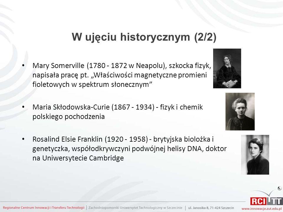 W ujęciu historycznym (2/2) Mary Somerville (1780 - 1872 w Neapolu), szkocka fizyk, napisała pracę pt. Właściwości magnetyczne promieni fioletowych w