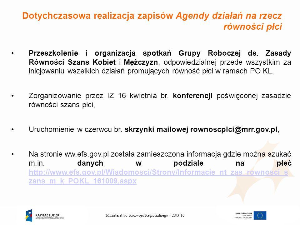 2.03.10Ministerstwo Rozwoju Regionalnego - Przeszkolenie i organizacja spotkań Grupy Roboczej ds.
