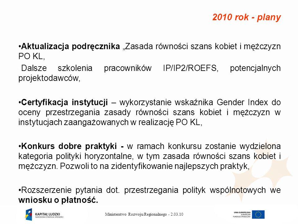 2.03.10Ministerstwo Rozwoju Regionalnego - Aktualizacja podręcznika Zasada równości szans kobiet i mężczyzn PO KL, Dalsze szkolenia pracowników IP/IP2/ROEFS, potencjalnych projektodawców, Certyfikacja instytucji – wykorzystanie wskaźnika Gender Index do oceny przestrzegania zasady równości szans kobiet i mężczyzn w instytucjach zaangażowanych w realizację PO KL, Konkurs dobre praktyki - w ramach konkursu zostanie wydzielona kategoria polityki horyzontalne, w tym zasada równości szans kobiet i mężczyzn.