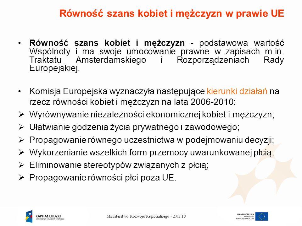 2.03.10Ministerstwo Rozwoju Regionalnego - Równość szans kobiet i mężczyzn - podstawowa wartość Wspólnoty i ma swoje umocowanie prawne w zapisach m.in