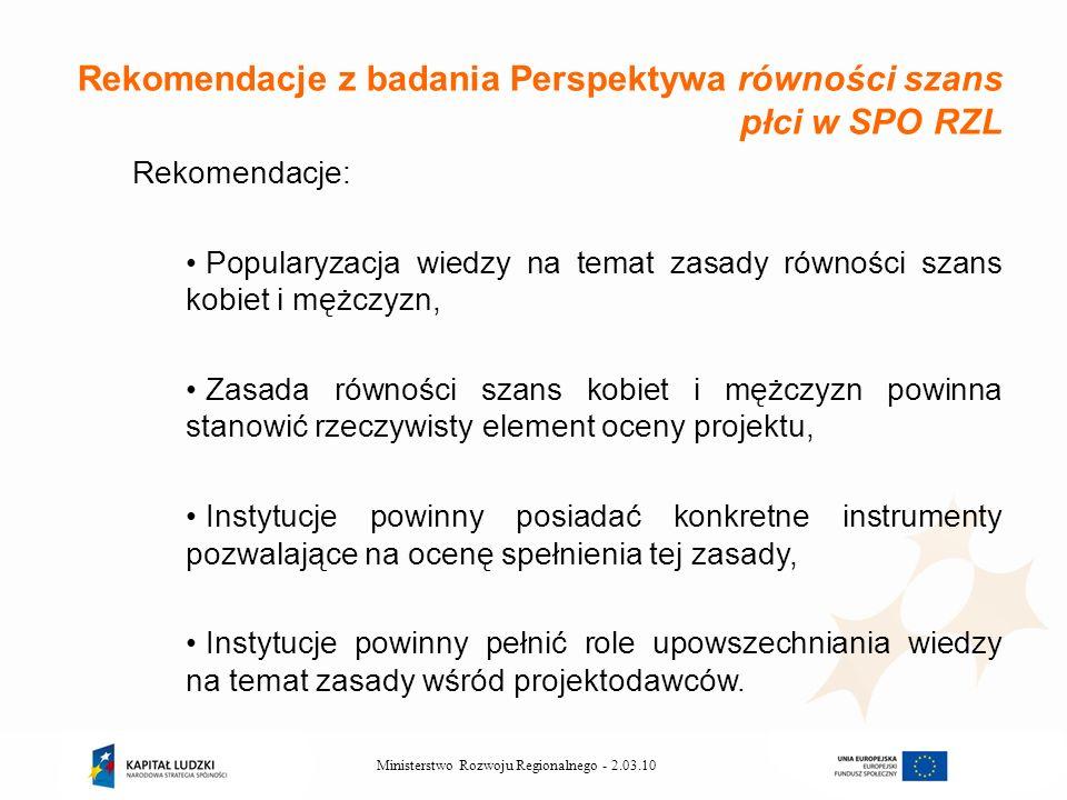 2.03.10Ministerstwo Rozwoju Regionalnego - Rekomendacje z badania Perspektywa równości szans płci w SPO RZL Rekomendacje: Popularyzacja wiedzy na tema