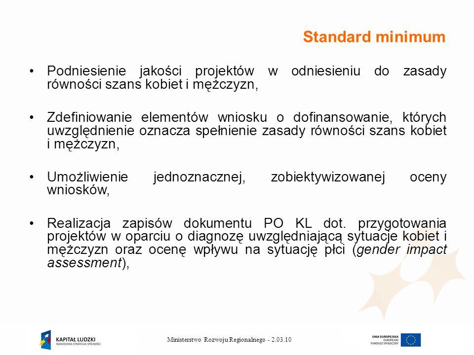 2.03.10Ministerstwo Rozwoju Regionalnego - Podniesienie jakości projektów w odniesieniu do zasady równości szans kobiet i mężczyzn, Zdefiniowanie elementów wniosku o dofinansowanie, których uwzględnienie oznacza spełnienie zasady równości szans kobiet i mężczyzn, Umożliwienie jednoznacznej, zobiektywizowanej oceny wniosków, Realizacja zapisów dokumentu PO KL dot.