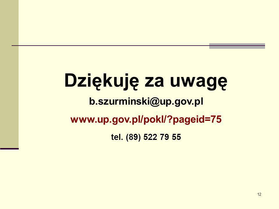 12 Dziękuję za uwagę b.szurminski@up.gov.pl www.up.gov.pl/pokl/?pageid=75 tel. (89) 522 79 55