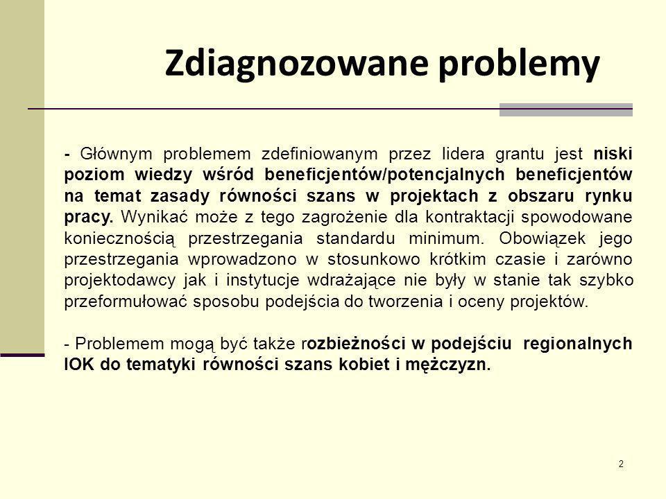 2 - Głównym problemem zdefiniowanym przez lidera grantu jest niski poziom wiedzy wśród beneficjentów/potencjalnych beneficjentów na temat zasady równo