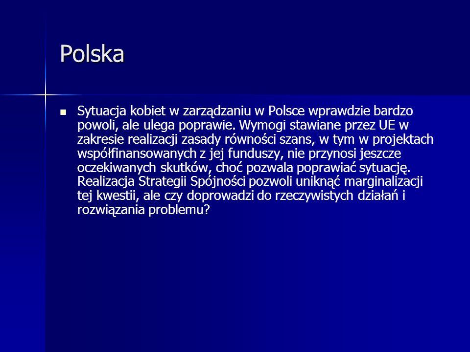 Polska Sytuacja kobiet w zarządzaniu w Polsce wprawdzie bardzo powoli, ale ulega poprawie. Wymogi stawiane przez UE w zakresie realizacji zasady równo