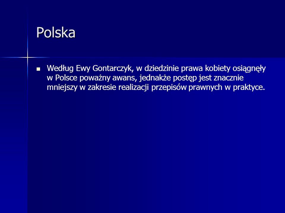 Polska Według Ewy Gontarczyk, w dziedzinie prawa kobiety osiągnęły w Polsce poważny awans, jednakże postęp jest znacznie mniejszy w zakresie realizacj