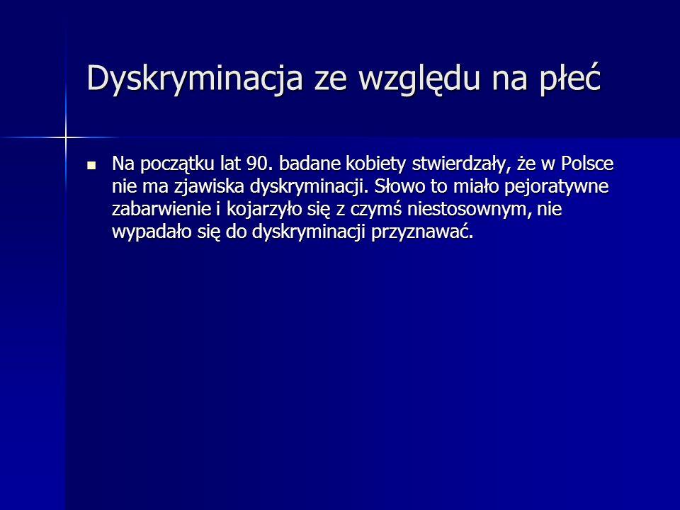 Dyskryminacja ze względu na płeć Na początku lat 90. badane kobiety stwierdzały, że w Polsce nie ma zjawiska dyskryminacji. Słowo to miało pejoratywne