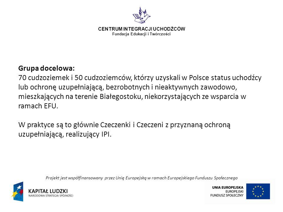 Projekt jest współfinansowany przez Unię Europejską w ramach Europejskiego Funduszu Społecznego CENTRUM INTEGRACJI UCHODŹCÓW Fundacja Edukacji i Twórczości Grupa docelowa: 70 cudzoziemek i 50 cudzoziemców, którzy uzyskali w Polsce status uchodźcy lub ochronę uzupełniającą, bezrobotnych i nieaktywnych zawodowo, mieszkających na terenie Białegostoku, niekorzystających ze wsparcia w ramach EFU.
