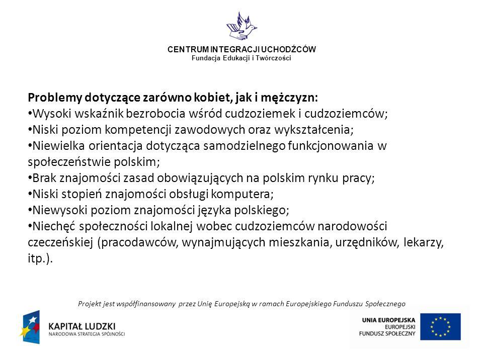 Projekt jest współfinansowany przez Unię Europejską w ramach Europejskiego Funduszu Społecznego CENTRUM INTEGRACJI UCHODŹCÓW Fundacja Edukacji i Twórczości Zakładane rezultaty miękkie: Nabycie umiejętności w samodzielnym funkcjonowaniu w społeczeństwie polskim przez 70 kobiet i 50 mężczyzn; Nabycie umiejętności samodzielnego świadczenia pracy na polskim rynku pracy przez 45 kobiet i 25 mężczyzn; Nabycie umiejętności społecznych ważnych z punktu widzenia polskiego rynku pracy i poznanie specyfiki jego funkcjonowania przez 30 kobiet i 20 mężczyzn; Podniesienie świadomości prawnej 30 kobiet i 20 mężczyzn; Podniesienie poziomu motywacji oraz umiejętności radzenia sobie w trudnych sytuacjach 30 kobiet i 20 mężczyzn; Zwiększenie wiedzy 50 pracodawców na temat zatrudniania cudzoziemek i cudzoziemców.