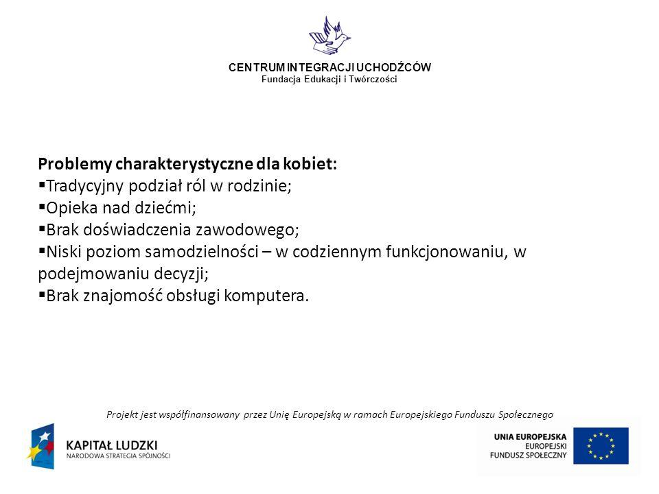 Projekt jest współfinansowany przez Unię Europejską w ramach Europejskiego Funduszu Społecznego CENTRUM INTEGRACJI UCHODŹCÓW Fundacja Edukacji i Twórczości Problemy charakterystyczne dla kobiet: Tradycyjny podział ról w rodzinie; Opieka nad dziećmi; Brak doświadczenia zawodowego; Niski poziom samodzielności – w codziennym funkcjonowaniu, w podejmowaniu decyzji; Brak znajomość obsługi komputera.