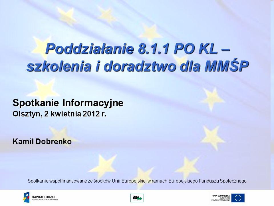 Poddziałanie 8.1.1 PO KL – szkolenia i doradztwo dla MMŚP Kamil Dobrenko Spotkanie współfinansowane ze środków Unii Europejskiej w ramach Europejskieg