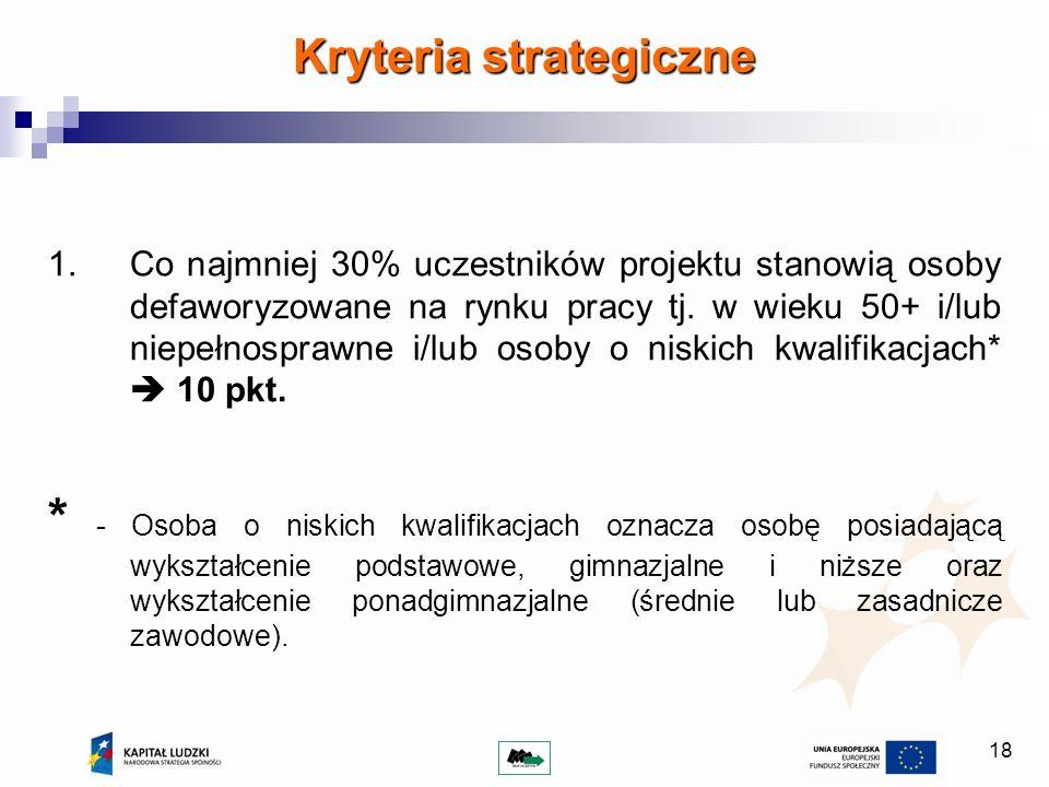 18 Kryteria strategiczne 1.Co najmniej 30% uczestników projektu stanowią osoby defaworyzowane na rynku pracy tj. w wieku 50+ i/lub niepełnosprawne i/l
