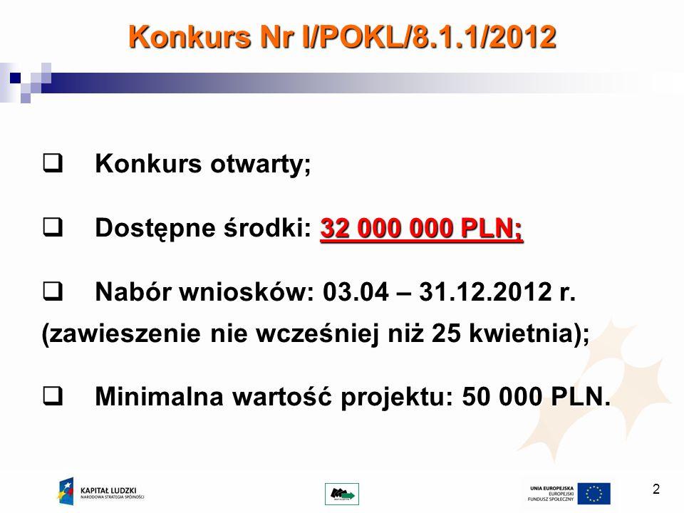 2 Konkurs Nr I/POKL/8.1.1/2012 Konkurs otwarty; Konkurs otwarty; Dostępne środki: 32 000 000 PLN; Dostępne środki: 32 000 000 PLN; Nabór wniosków: 03.