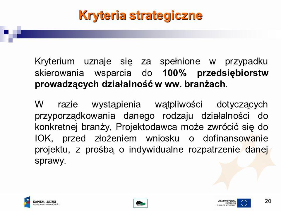 20 Kryteria strategiczne Kryterium uznaje się za spełnione w przypadku skierowania wsparcia do 100% przedsiębiorstw prowadzących działalność w ww. bra