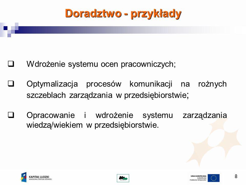 8 Doradztwo - przykłady Wdrożenie systemu ocen pracowniczych; Optymalizacja procesów komunikacji na rożnych szczeblach zarządzania w przedsiębiorstwie