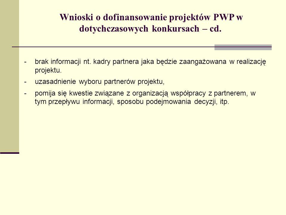 Wnioski o dofinansowanie projektów PWP w dotychczasowych konkursach – cd. -brak informacji nt. kadry partnera jaka będzie zaangażowana w realizację pr