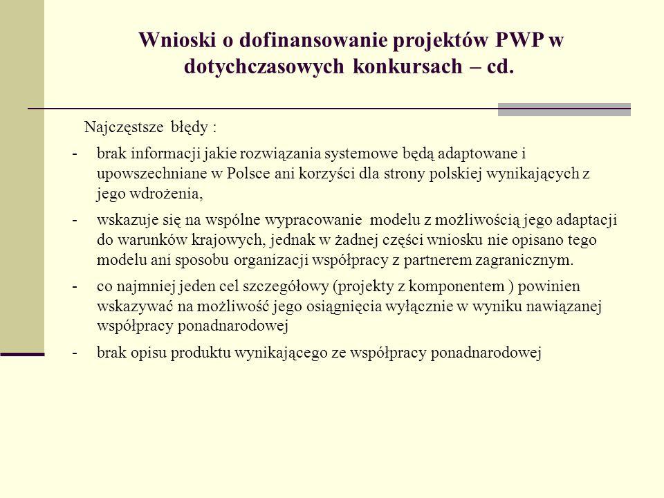 Wnioski o dofinansowanie projektów PWP w dotychczasowych konkursach – cd. Najczęstsze błędy : -brak informacji jakie rozwiązania systemowe będą adapto