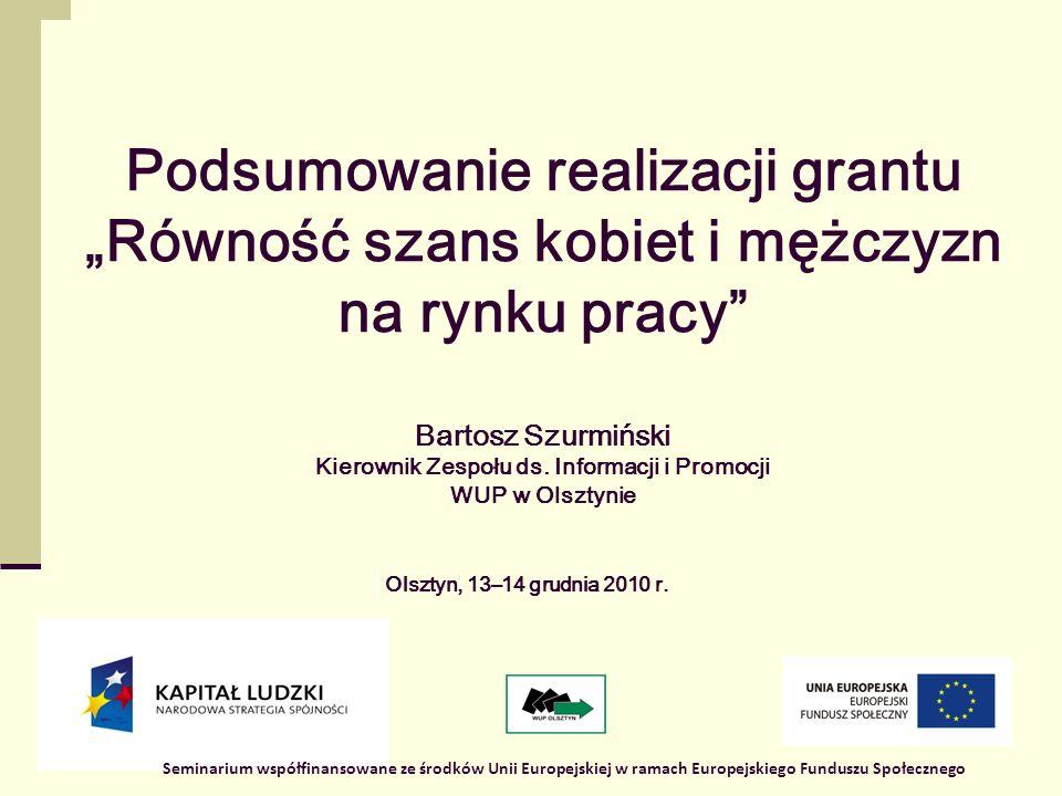 1 Podsumowanie realizacji grantu Równość szans kobiet i mężczyzn na rynku pracy Bartosz Szurmiński Kierownik Zespołu ds.