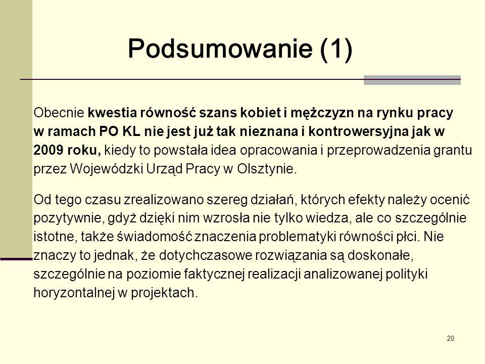 20 Obecnie kwestia równość szans kobiet i mężczyzn na rynku pracy w ramach PO KL nie jest już tak nieznana i kontrowersyjna jak w 2009 roku, kiedy to powstała idea opracowania i przeprowadzenia grantu przez Wojewódzki Urząd Pracy w Olsztynie.