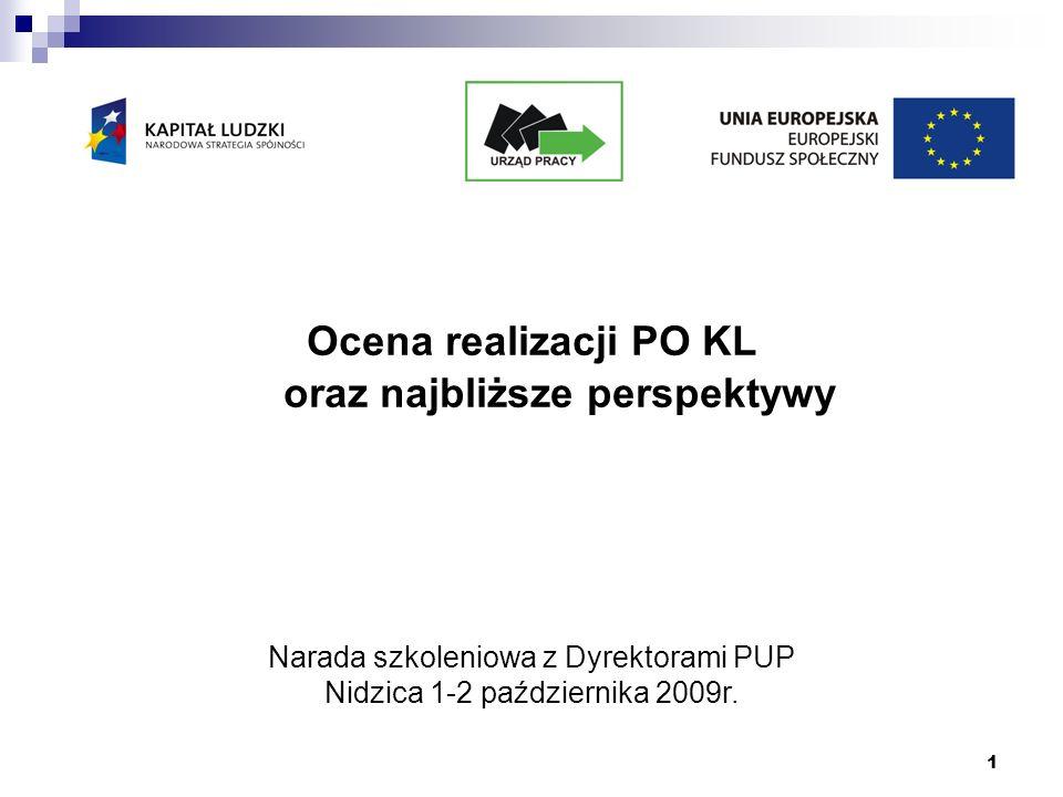 1 Ocena realizacji PO KL oraz najbliższe perspektywy Narada szkoleniowa z Dyrektorami PUP Nidzica 1-2 października 2009r.