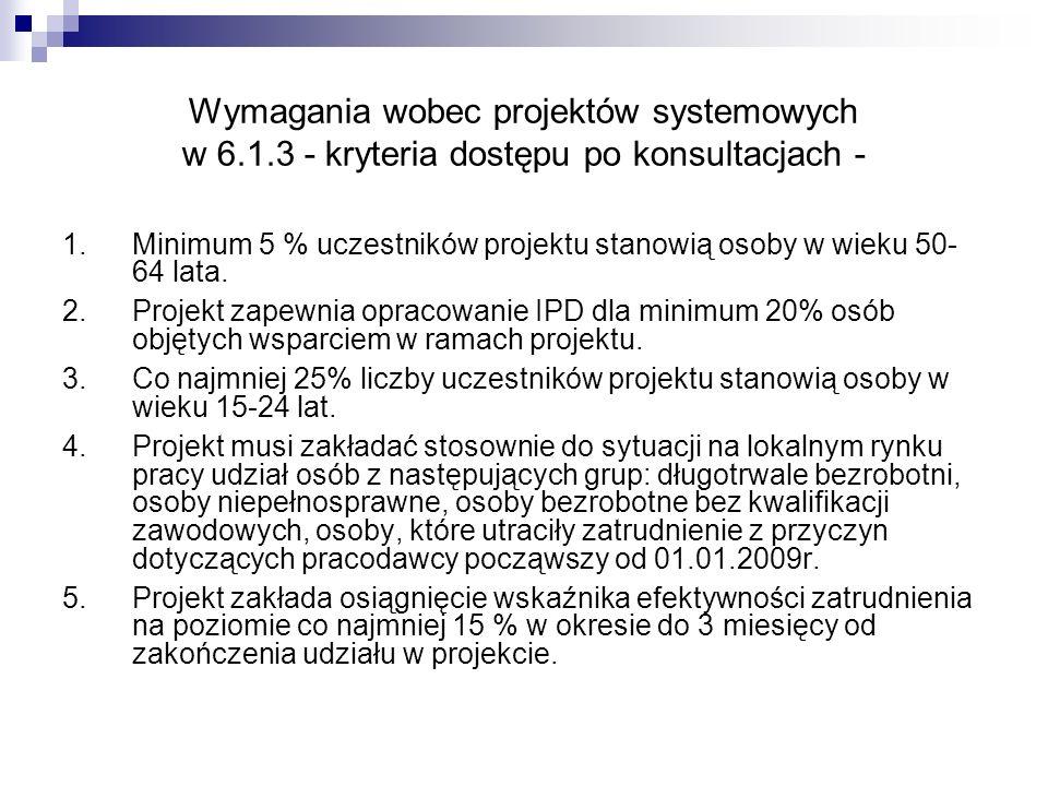 Wymagania wobec projektów systemowych w 6.1.3 - kryteria dostępu po konsultacjach - 1.Minimum 5 % uczestników projektu stanowią osoby w wieku 50- 64 lata.