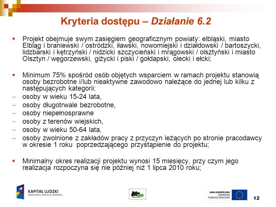 12 Kryteria dostępu – Działanie 6.2 Projekt obejmuje swym zasięgiem geograficznym powiaty: elbląski, miasto Elbląg i braniewski / ostródzki, iławski, nowomiejski i działdowski / bartoszycki, lidzbarski i kętrzyński / nidzicki szczycieński i mrągowski / olsztyński i miasto Olsztyn / węgorzewski, giżycki i piski / gołdapski, olecki i ełcki; Minimum 75% spośród osób objętych wsparciem w ramach projektu stanowią osoby bezrobotne i/lub nieaktywne zawodowo należące do jednej lub kilku z następujących kategorii: osoby w wieku 15-24 lata, osoby długotrwale bezrobotne, osoby niepełnosprawne osoby z terenów wiejskich, osoby w wieku 50-64 lata, osoby zwolnione z zakładów pracy z przyczyn leżących po stronie pracodawcy w okresie 1 roku poprzedzającego przystąpienie do projektu; Minimalny okres realizacji projektu wynosi 15 miesięcy, przy czym jego realizacja rozpoczyna się nie później niż 1 lipca 2010 roku;