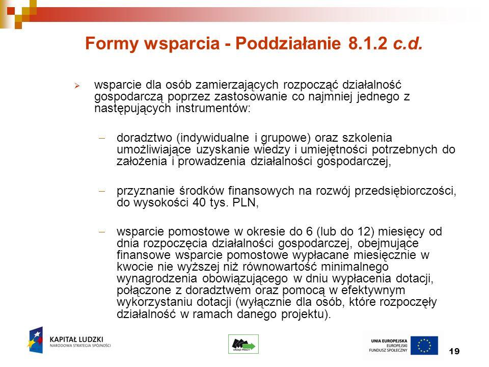 19 Formy wsparcia - Poddziałanie 8.1.2 c.d.