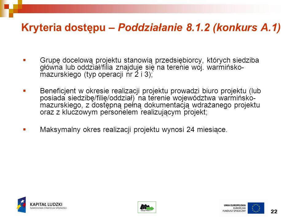 22 Kryteria dostępu – Poddziałanie 8.1.2 (konkurs A.1) Grupę docelową projektu stanowią przedsiębiorcy, których siedziba główna lub oddział/filia znajduje się na terenie woj.