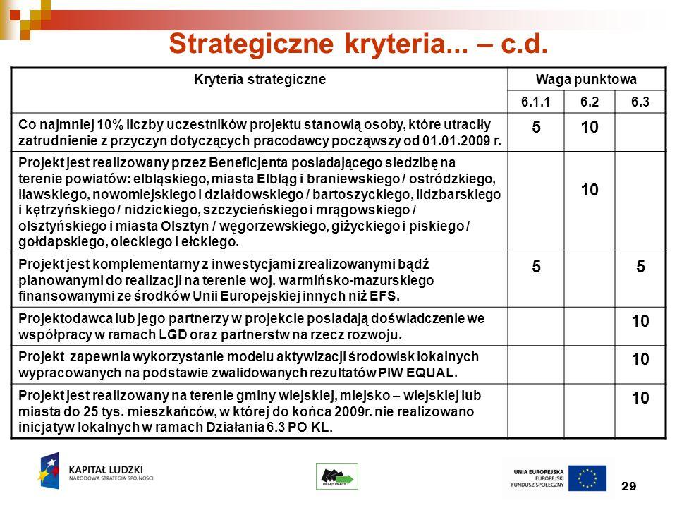 29 Strategiczne kryteria... – c.d.