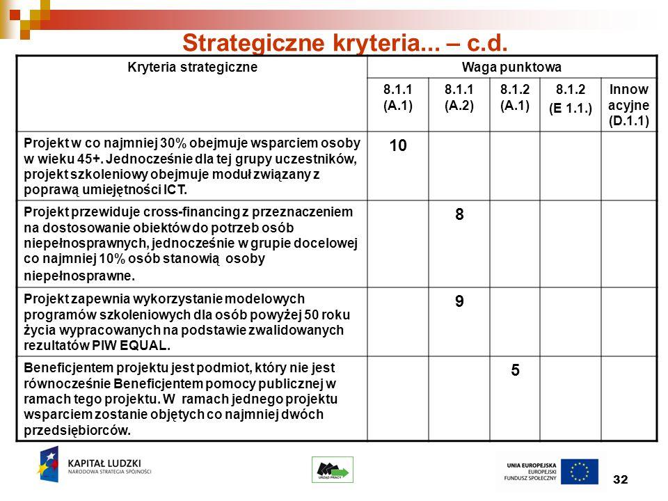 32 Strategiczne kryteria... – c.d.