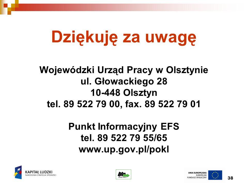 38 Dziękuję za uwagę Wojewódzki Urząd Pracy w Olsztynie ul.