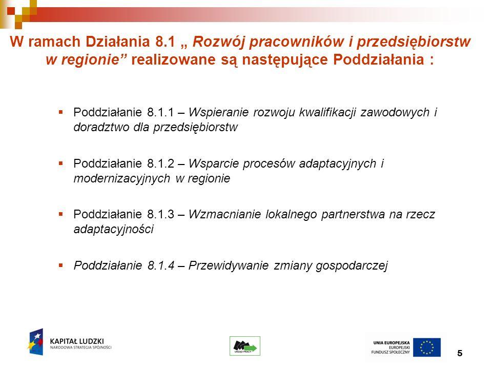 5 W ramach Działania 8.1 Rozwój pracowników i przedsiębiorstw w regionie realizowane są następujące Poddziałania : Poddziałanie 8.1.1 – Wspieranie rozwoju kwalifikacji zawodowych i doradztwo dla przedsiębiorstw Poddziałanie 8.1.2 – Wsparcie procesów adaptacyjnych i modernizacyjnych w regionie Poddziałanie 8.1.3 – Wzmacnianie lokalnego partnerstwa na rzecz adaptacyjności Poddziałanie 8.1.4 – Przewidywanie zmiany gospodarczej