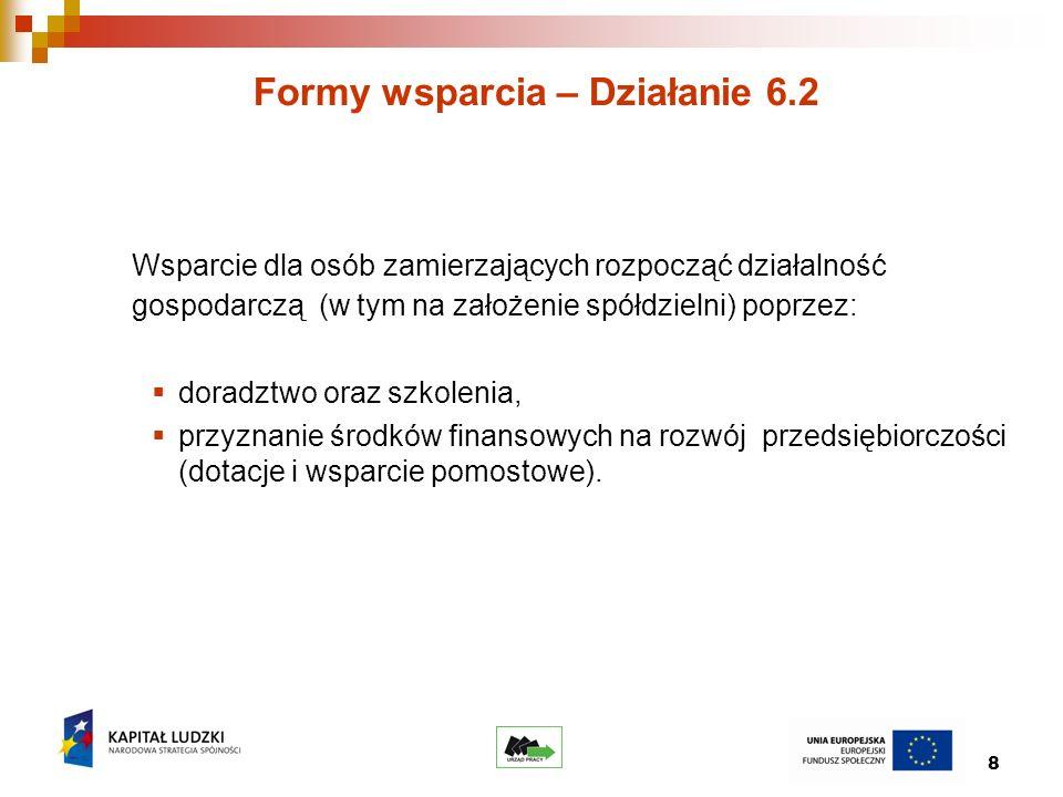8 Formy wsparcia – Działanie 6.2 Wsparcie dla osób zamierzających rozpocząć działalność gospodarczą (w tym na założenie spółdzielni) poprzez: doradztwo oraz szkolenia, przyznanie środków finansowych na rozwój przedsiębiorczości (dotacje i wsparcie pomostowe).