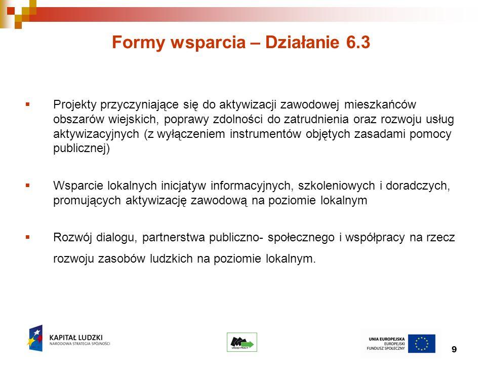 9 Formy wsparcia – Działanie 6.3 Projekty przyczyniające się do aktywizacji zawodowej mieszkańców obszarów wiejskich, poprawy zdolności do zatrudnienia oraz rozwoju usług aktywizacyjnych (z wyłączeniem instrumentów objętych zasadami pomocy publicznej) Wsparcie lokalnych inicjatyw informacyjnych, szkoleniowych i doradczych, promujących aktywizację zawodową na poziomie lokalnym Rozwój dialogu, partnerstwa publiczno- społecznego i współpracy na rzecz rozwoju zasobów ludzkich na poziomie lokalnym.