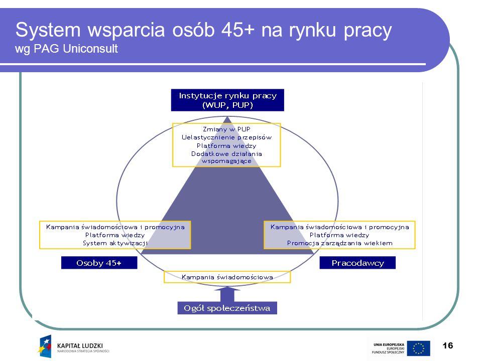 16 System wsparcia osób 45+ na rynku pracy wg PAG Uniconsult