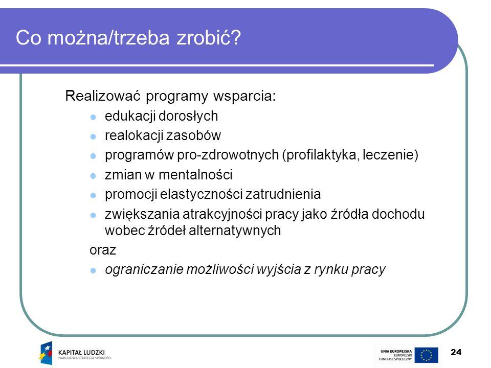 24 Co można/trzeba zrobić? Realizować programy wsparcia: edukacji dorosłych realokacji zasobów programów pro-zdrowotnych (profilaktyka, leczenie) zmia