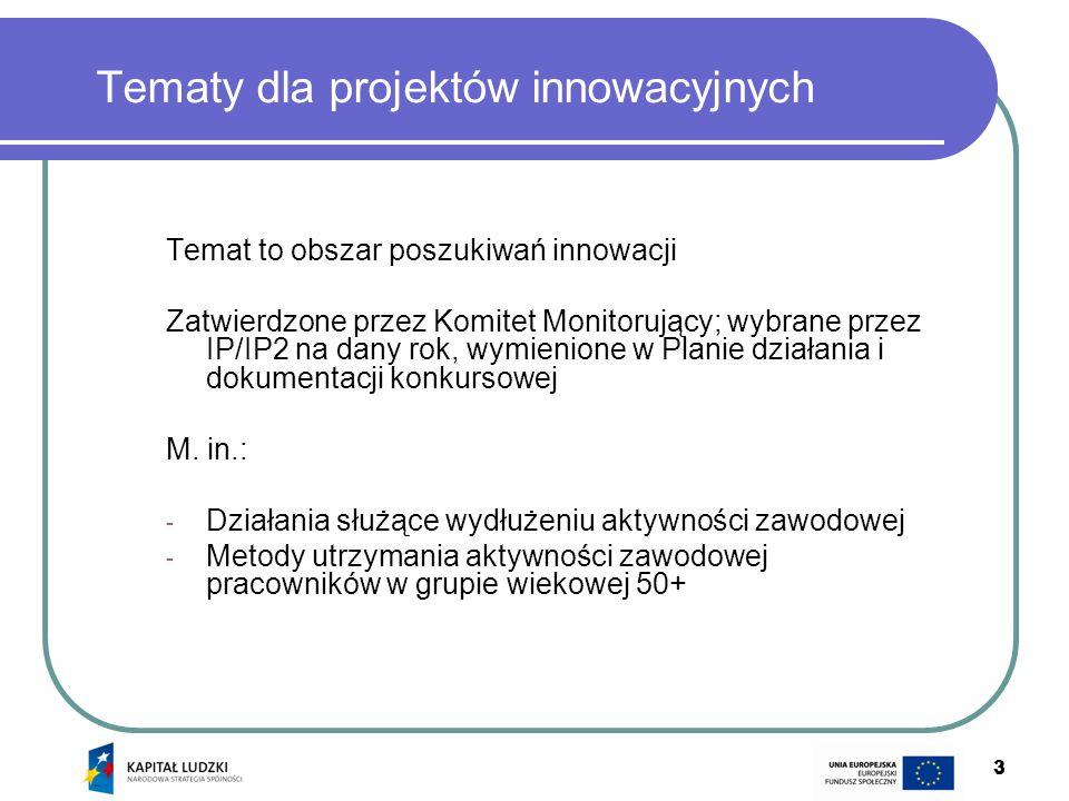 3 3 Temat to obszar poszukiwań innowacji Zatwierdzone przez Komitet Monitorujący; wybrane przez IP/IP2 na dany rok, wymienione w Planie działania i do