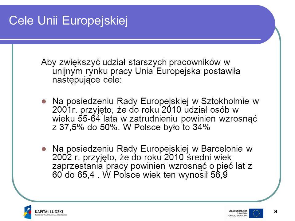 8 Cele Unii Europejskiej Aby zwiększyć udział starszych pracowników w unijnym rynku pracy Unia Europejska postawiła następujące cele: Na posiedzeniu R