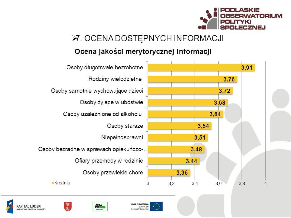 7. OCENA DOSTĘPNYCH INFORMACJI Ocena jakości merytorycznej informacji