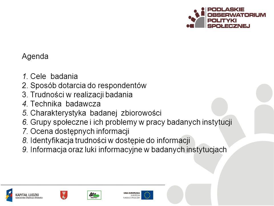 Agenda 1. Cele badania 2. Sposób dotarcia do respondentów 3. Trudności w realizacji badania 4. Technika badawcza 5. Charakterystyka badanej zbiorowośc