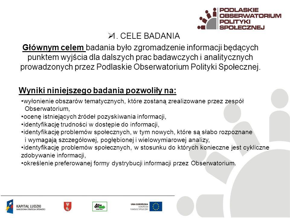 Głównym celem badania było zgromadzenie informacji będących punktem wyjścia dla dalszych prac badawczych i analitycznych prowadzonych przez Podlaskie
