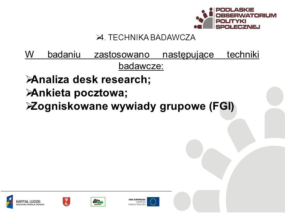 W badaniu zastosowano następujące techniki badawcze: 4. TECHNIKA BADAWCZA Analiza desk research; Ankieta pocztowa; Zogniskowane wywiady grupowe (FGI)